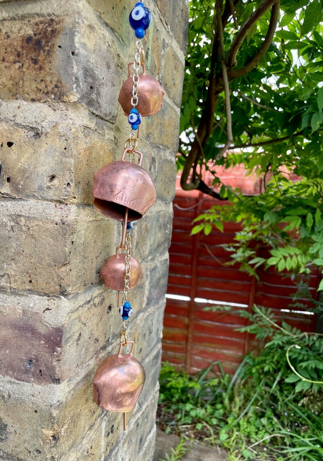 Copper Bells Door/Wall Hanging Glass Evil Eye Beads, Wind-chime, Home Decor