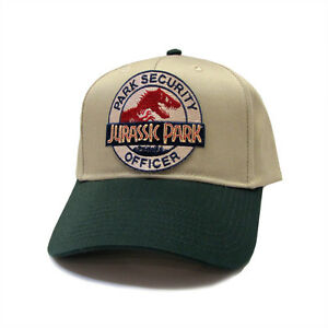 Jurassic Park Movie Park Security Officer Sci fi Patch Khaki Green Cap Hat