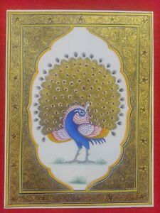 Hand-Painted-Finest-Peacock-Miniature-Painting-India-Art-Work-Synthetic-Ivory