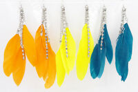 Gorgeous Brand New Colorful Feather Rhinestone Crystal Earrings #E1129
