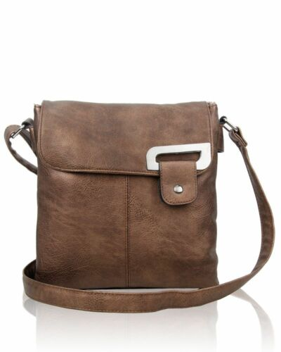 New Women/'s Girls Stylish Flap Over Style Messenger Bag With Silver Metal Detail