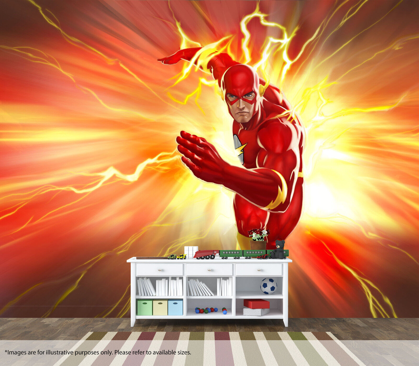 The Flash DC Wall Mural Wall Art Quality Pastable Wallpaper Decal