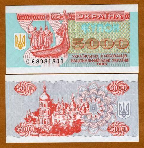 5,000 Ukraine 5000 UNC Karbovantsiv 1995 93b P-93