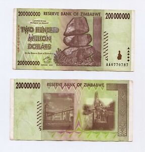 Zimbabwe 5 X 200 Million Dollars 2008 SERIES-AA Pick-81 UNCIRCULATED