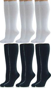 Girls / Ladies Knee High School Socks Pack of 3 or 6 Pairs