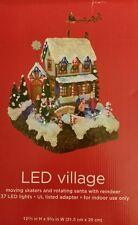 *RARE CHRISTMAS VILLAGE Moving Skaters Rotating Santa Reindeer 37 LED LIGHTS NEW