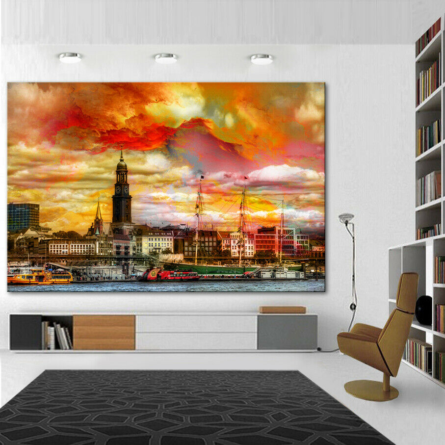 Hamburg Stadt Städte Abstrakt Deko Bilder Leinwand Kunst Wandbild XXXL 1308A