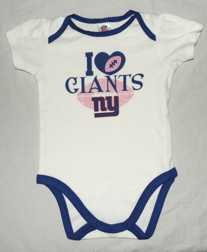 NEW Baby Girl New York Giants One Piece 3-6 /& 6-12 Month Love NFL Football Game
