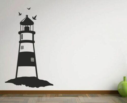 Wandtattoo Wandaufkleber Aufkleber Leuchtturm Meer See Hafen Küste Möwe 206