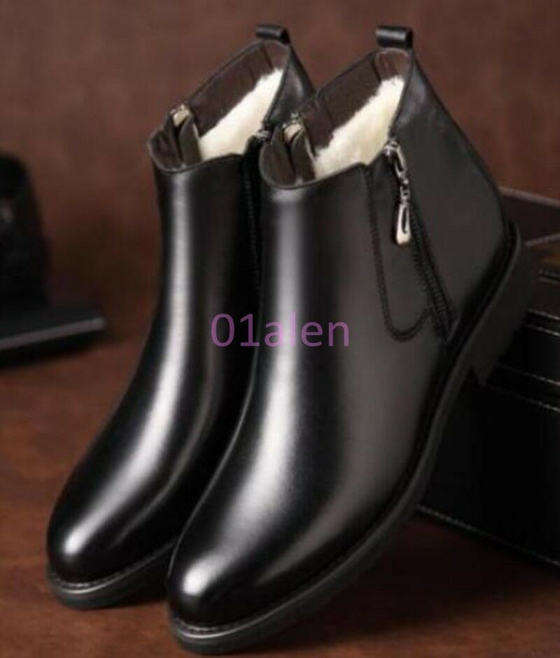 Mens High Top Fur Lined Winter Snow Boots Zipper Faux Leather Chukka Dress shoes