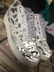 Details about Nike Air Force 1 Low Premium '08 QS DIGI CAMO WHITE SILVER 3M GREY Sz 12