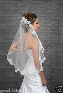 White-Ivory-Wedding-Veil-One-Layer-Lace-Applique-Edge-Bridal-Veils-With-Comb