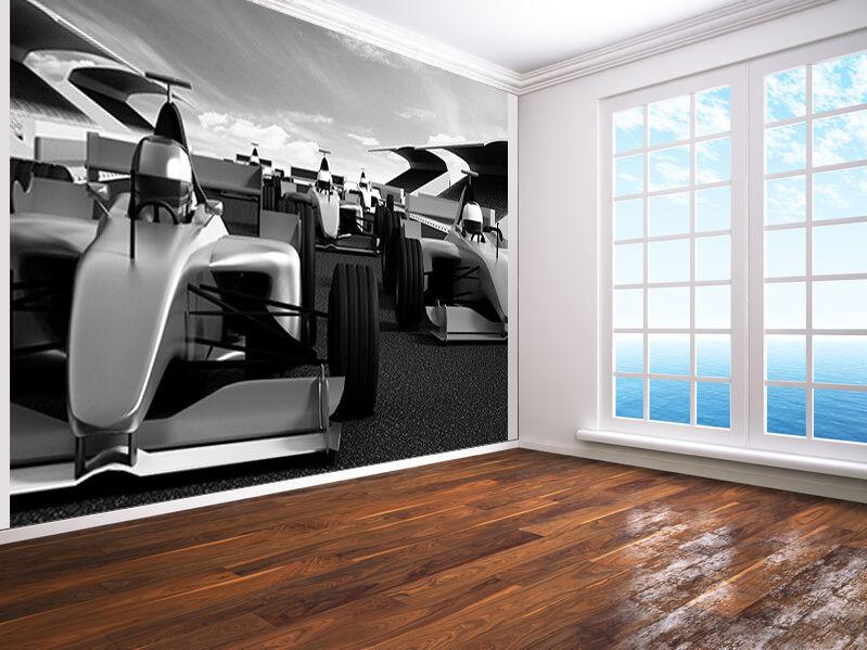 Auto Rennen an der Vorderseite Schwarz und Weiß Foto Wandtapete Wandgemälde