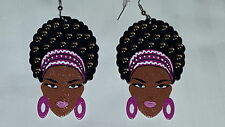 Black Diva with purple headband & lip color afro (natural hair) wood earrings