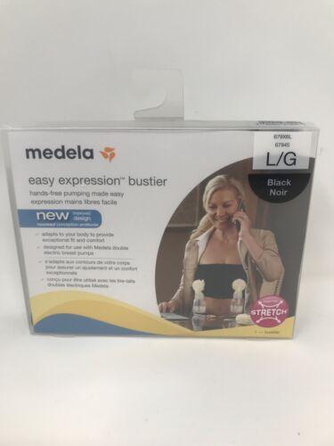 New Medela Easy Expression Bustier Bra Top Pumping Breastfeeding Nursing Black L