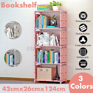 4-Tier DIY Bookcase Wall Bookshelf Leaning Wall Shelf ...