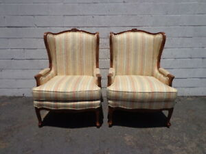 Marvelous Details About Pair Of Chairs Armchair Wing Back Antique Bergere Traditional Hollywood Regency Machost Co Dining Chair Design Ideas Machostcouk