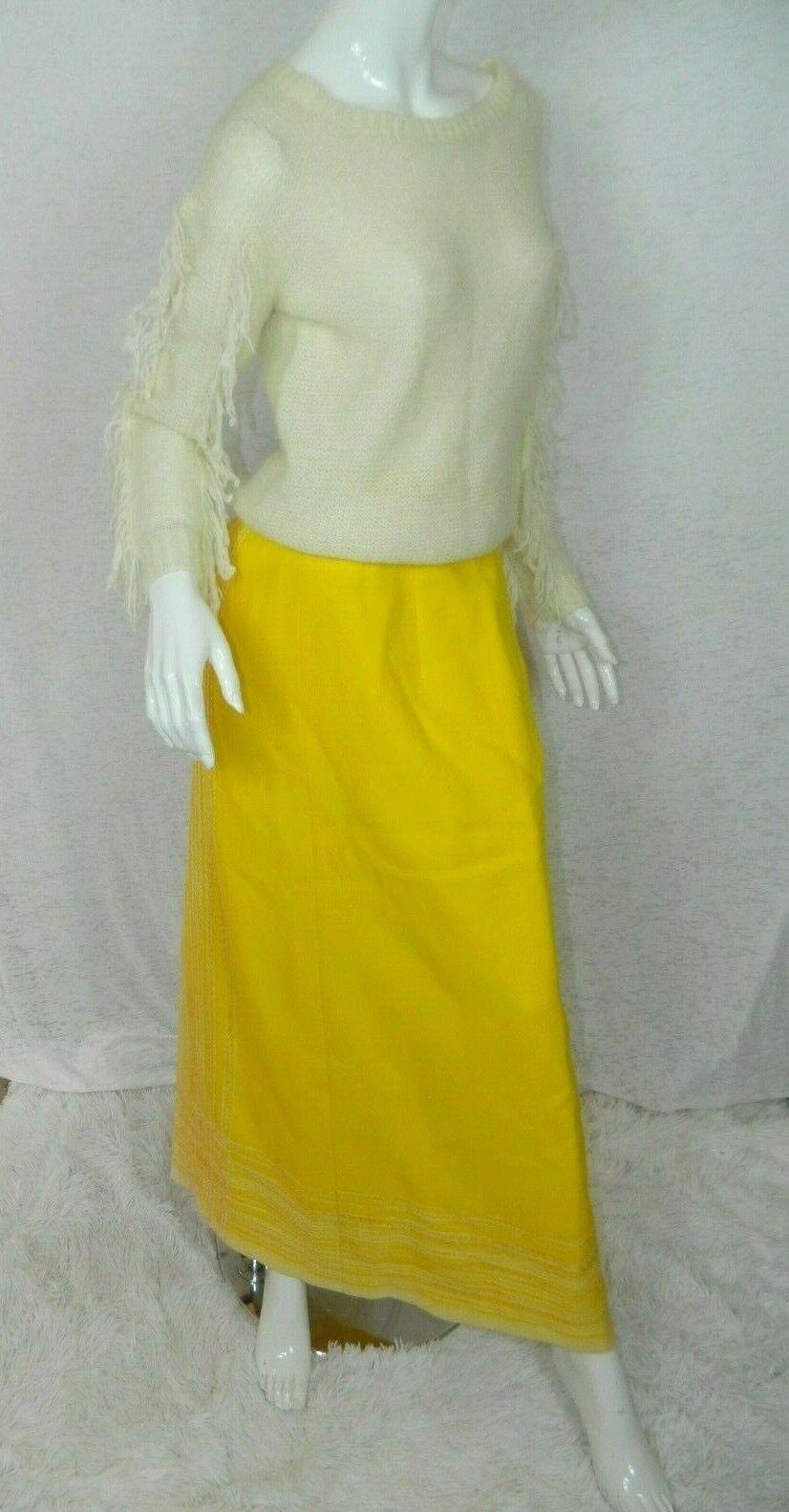 Vintage Arola Finland Skirt Yellow White Wool 70s… - image 1