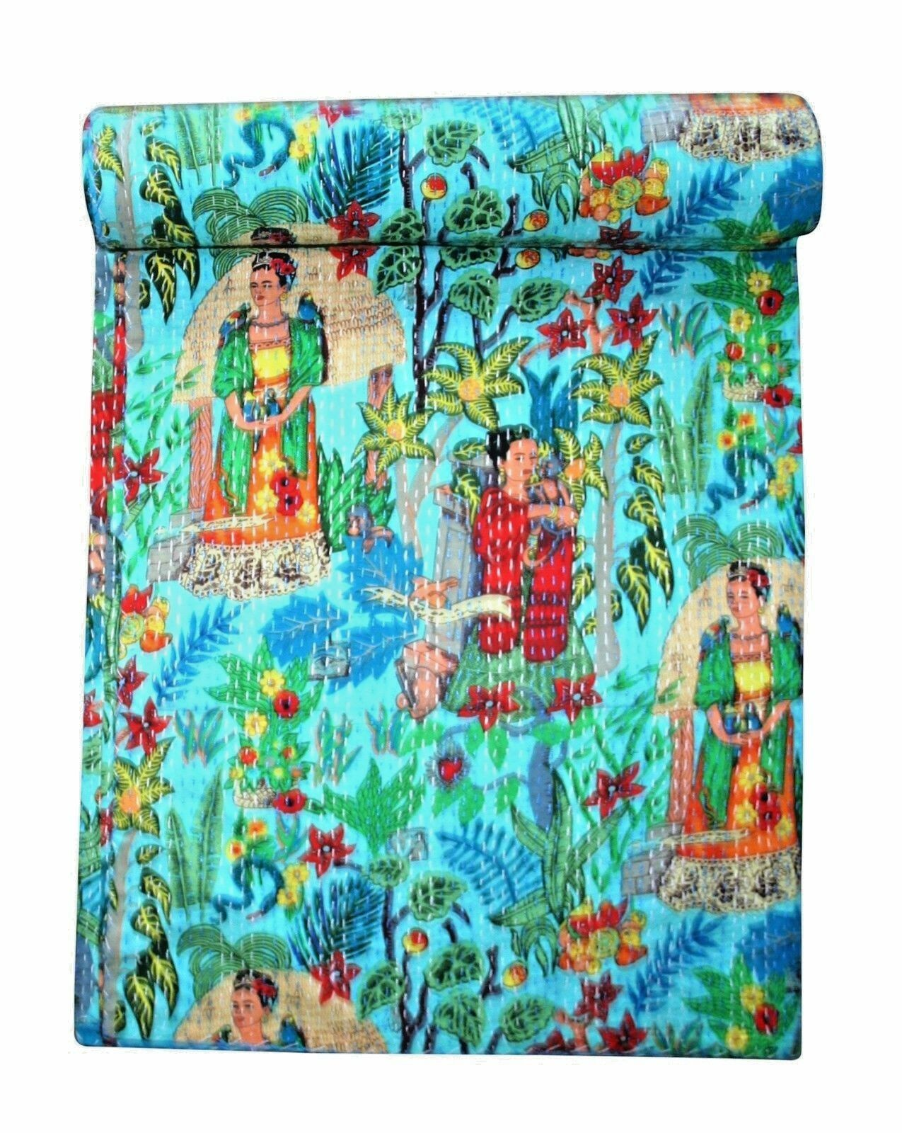 Farida Kahlo Print Queen of Mexican Kantha Quilt Bedspread Kantha Blanket Throw