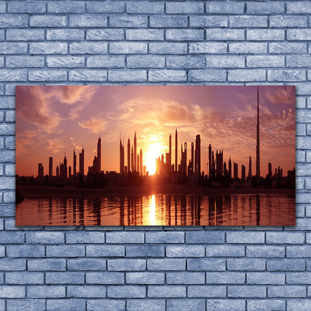 Glass print Wall art 140x70 Image Picture City City City Houses a5448f