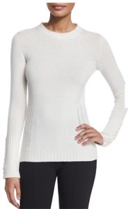 NWT ANGONA LONG-SLEEVE BUTTON-CUFF CREW 100% CASHMERE SWEATER IVORY L 46