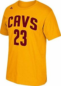 7b7b7c66c3e Cleveland Cavaliers Lebron James Gold Player Name and Number T-Shirt ...