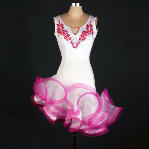 Latin Ballroom Dance Dress Modern Salsa Waltz Standard Long Dress#FM192 2 Colors