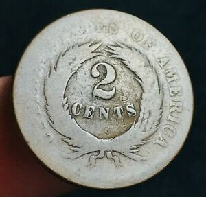 1865-US-Two-Cent-Piece-2C-Ungraded-Civil-War-Era-Worn-Date-US-Copper-Coin-CC2667