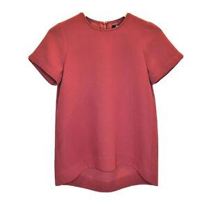 Madewell-Womens-Short-Sleeve-Blouse-Sz-XS-Burgundy-Red-Career-Top-Business