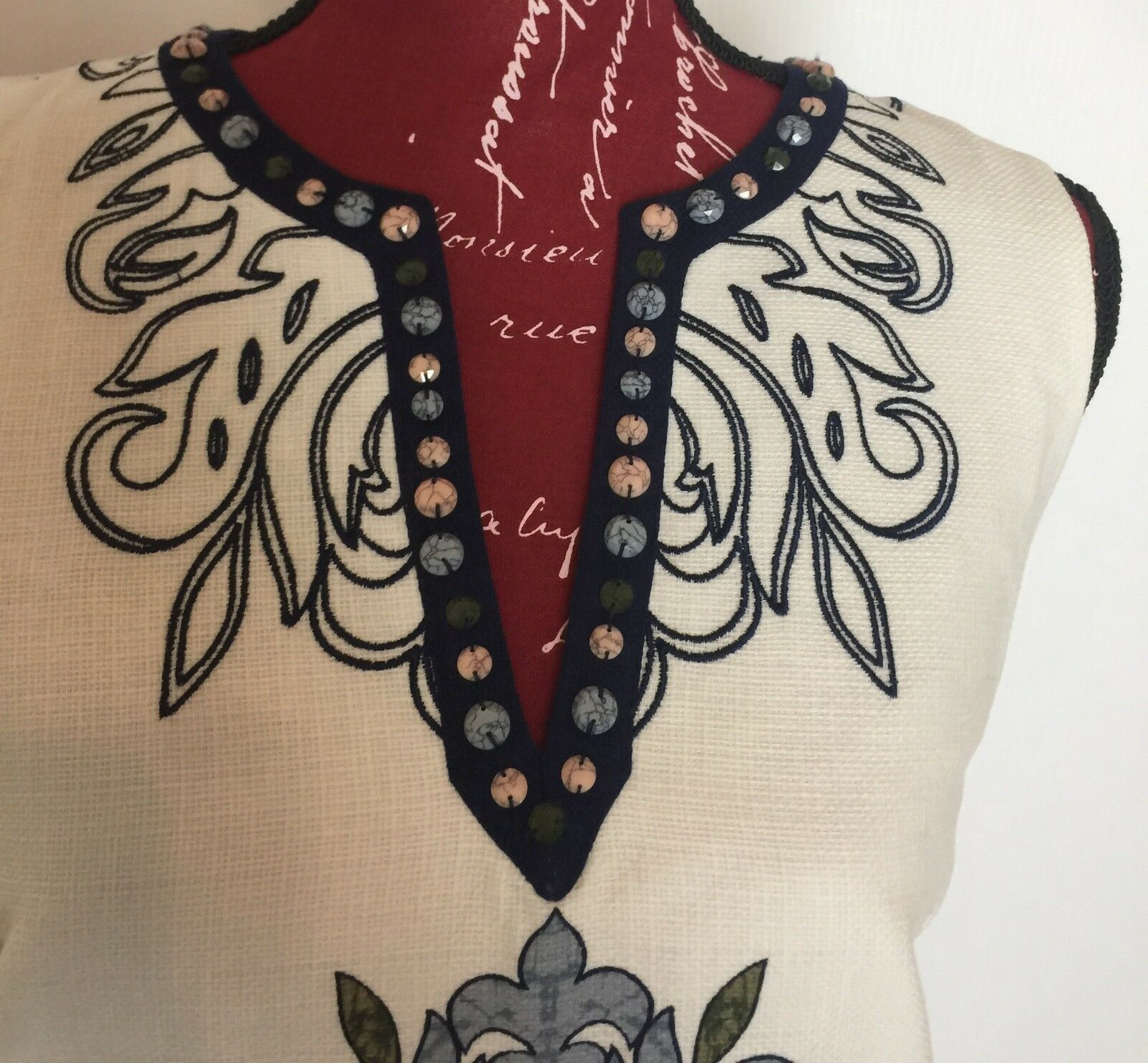 LAUNDRY BY BY BY SHELLI SEGAL PRINTED EMBROIDERED  WOMENS BEADED DRESS 891a23