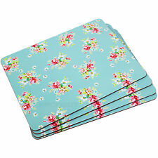 Set 4 Blue Vintage Floral Placemats Retro Dining Table Place Settting Mats Decor