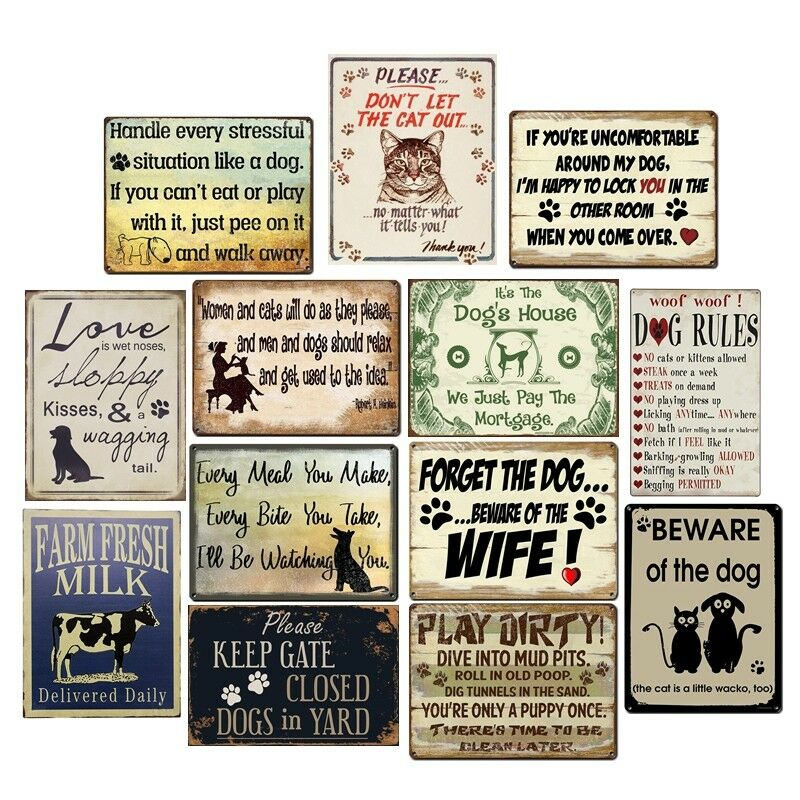 The Cats Rules Vintage Metal Wall Sign