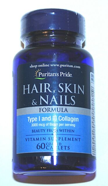 Hair Skin Nail Care Anti Aging Collagen Vitamin 3000mcg Biotin Gluten Free Pill