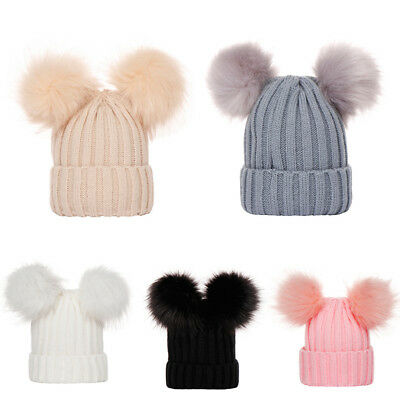 Warm Born Infants Baby Girls Boys Winter Knit Hat Toddler Hairball Beanie Cap