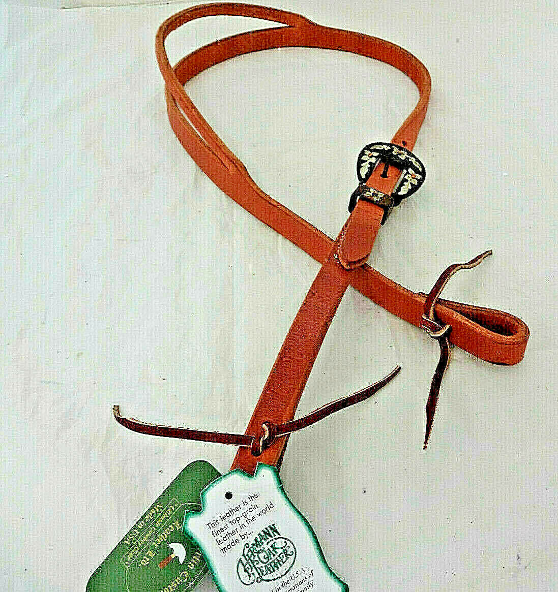 Harness leather split ear bridle headstall copper floral buckle cowboy USA H360