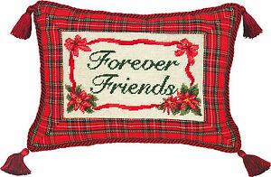 PILLOWS-034-FOREVER-FRIENDS-034-PILLOW-PETIT-POINT-CHRISTMAS-PILLOW