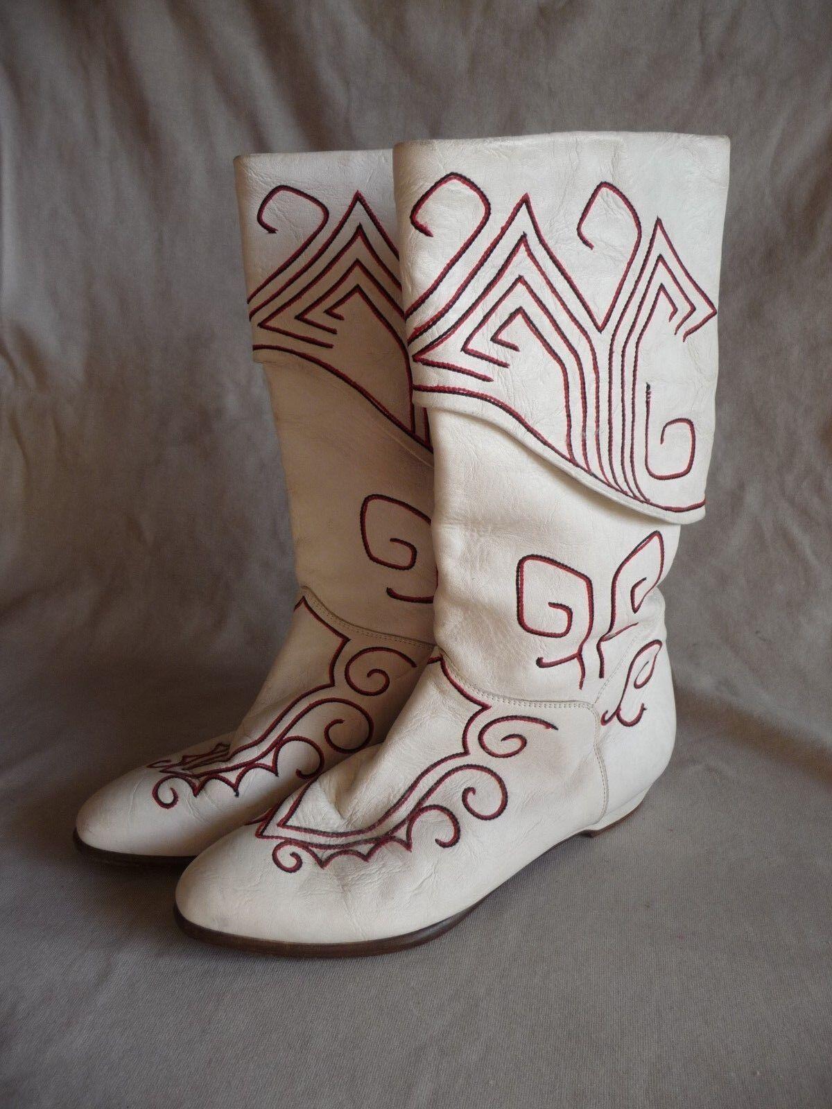 la migliore selezione di Vintage El Vaquero   Russian Style Style Style  Embroidered bianca stivali, Dimensione US 6  centro commerciale di moda