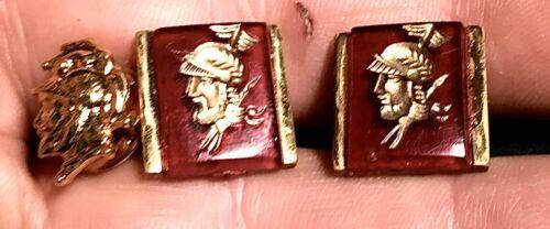 vintage cufflinks Hickok blue intaglio carved warrior spartan roman unique offered by Vintage Men/'s Swag  lot q