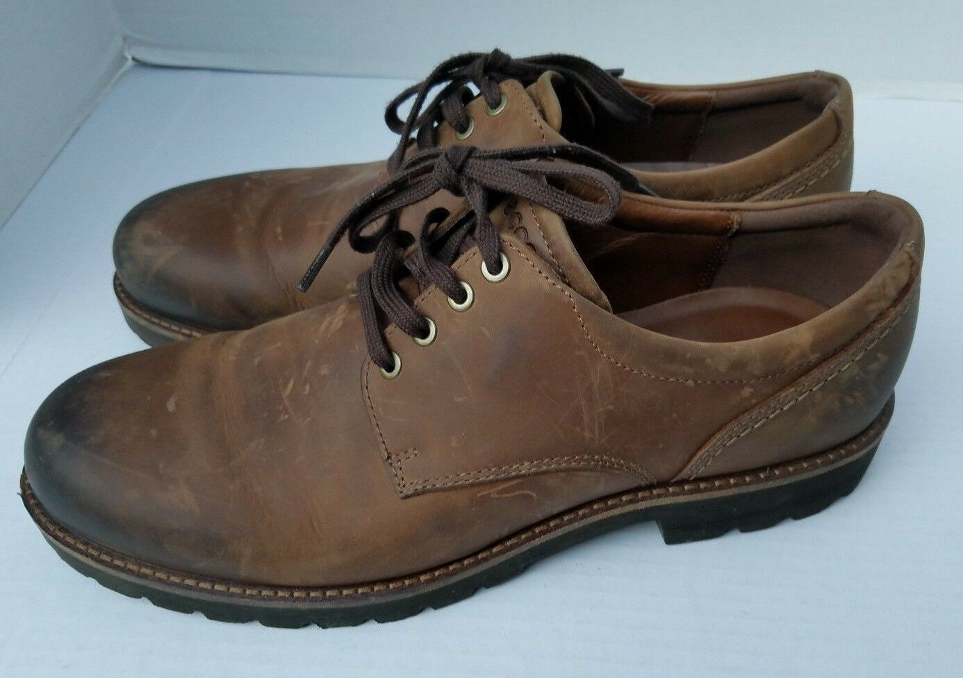 ECCO Cocoa Brown Leather Lace Up Low shoes JAMESTOWN HYDR MAX Mens 46 12+