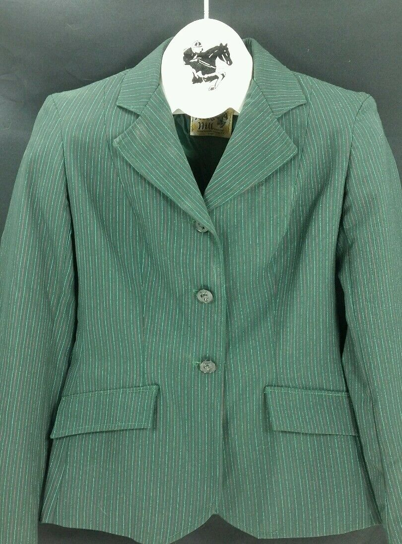 Reed Hill Hunt Coat Hunter verde Pin  Wool Blend Ladies Dimensione 12  Made in USA