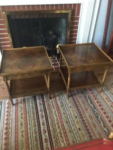 Image Is Loading Baker Furniture Side Tables Book Matched Mahogany Pair