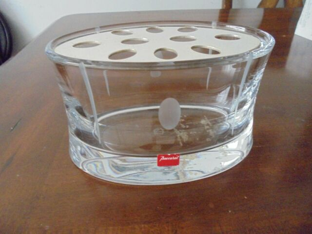 BACCARAT CRYSTAL TRANQUILITY OVAL FLOWER VASE w/Silver Plated Cover Vintage