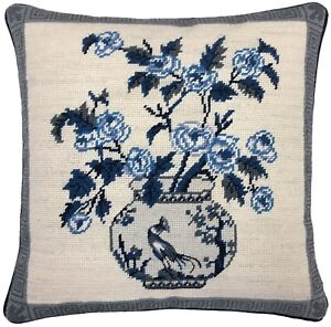 """16/""""x16/"""" Wool Needlepoint Ming Dynasty Dragon Vase Pillow with Checker Cording"""