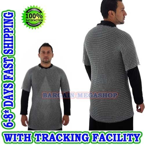 Medieval Chainmail Shirt, Zinc Finish, butted Chain Mail Armour Best gift Men's