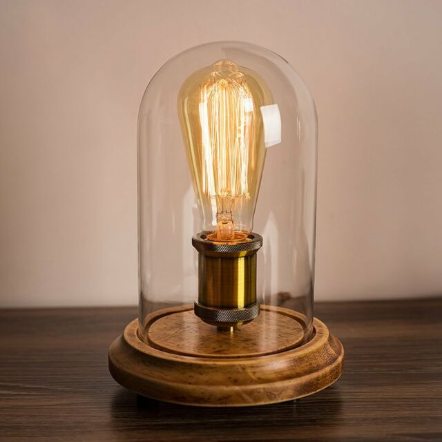 Surpars House Vintage Desk Lamp Glass Shade Table Edison Bulb