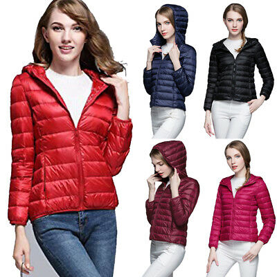 US Winter Women Packable Down Jacket Ultralight Stand Collar Coat Hooded Puffer