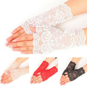 Femmes-soiree-nuptiale-mariage-robe-de-mariee-dentelle-doigts-Gants-Mitaines-I