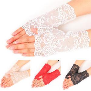 Femmes-soiree-nuptiale-mariage-robe-de-mariee-dentelle-doigts-Gants-Mitaines-9H