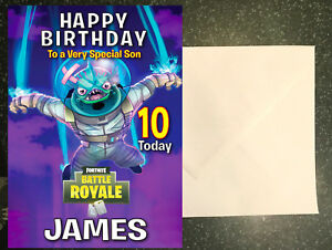 Details about Personalised PS4 Fortnite Birthday Card any name/age/relation