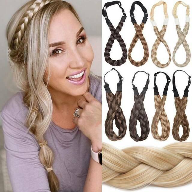 Fashion Braided Plaited Women Hair Wig Hair Band Headband Hairband Party C